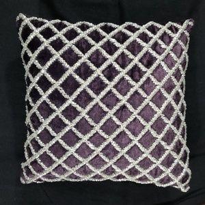 Purple velvet and rhinestone pillow 12 x 12